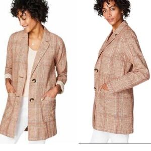 J. Jill Henna Multi Plaid Long Linen Jacket NWT